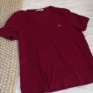 Burgundy Lacoste T Shirt